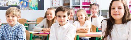 Foto de Panorama of a classroom in primary school with rows of smiling pupils sitting at their desks - Imagen libre de derechos