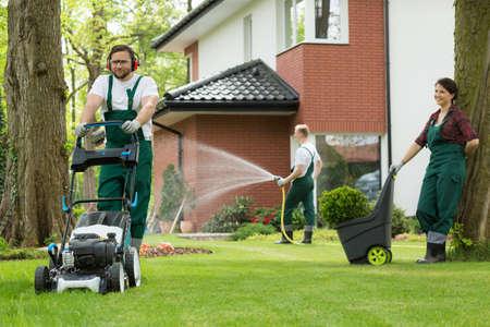 Foto de Preparing garden for the summer by team of gardeners - Imagen libre de derechos