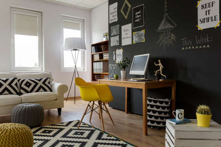 Photo for Closeup shot of a creative and stylish workspace and relaxation area - Royalty Free Image