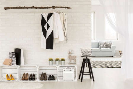 Photo pour Young woman's hallway arranged in black and white, with recyclable furniture and clothing items, bordering a bright living room - image libre de droit