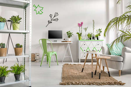 Photo pour White flat interior with simple storage unit, desk, computer, chair, armchair, commode and decorative houseplants - image libre de droit