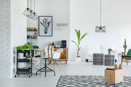 Foto de White apartment with pattern carpet, brick wall, table and sofa - Imagen libre de derechos