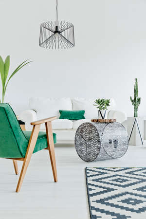 Photo pour Light home interior with green chair, carpet and sofa - image libre de droit