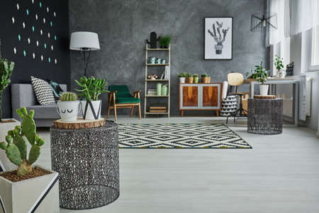 Photo pour Flat with decorative metal accessories, cactus and floor panels - image libre de droit
