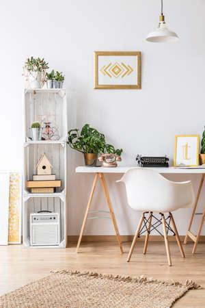 Photo pour Modern home office area with desk and armchair - image libre de droit
