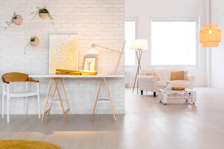 Photo for Bright living room interior with stylish lighting - Royalty Free Image