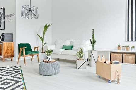 Photo for Open space flat interior with stylish furniture - Royalty Free Image