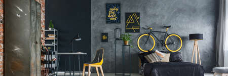 Photo pour Modern interior design of a hipster grey and yellow bedroom - image libre de droit
