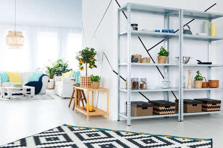 Photo pour Black and white design of modern interior of living room - image libre de droit