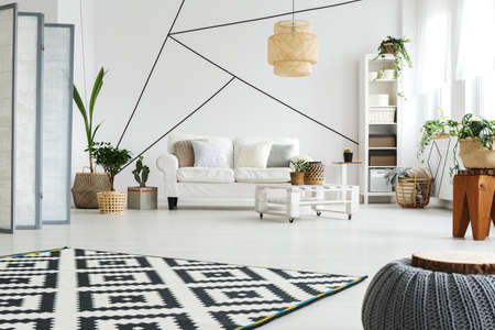 Photo pour White modern furniture in scandi style living room - image libre de droit