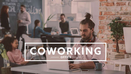 Photo for Relaxed man working on business project at industrial coworking office - Royalty Free Image
