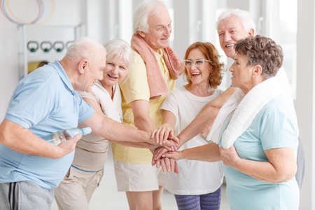 Photo pour Elderly active people happy about their training together - image libre de droit
