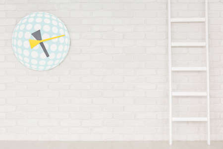 Photo for Colorfull funny child's clock and ladder on white brick wall - Royalty Free Image