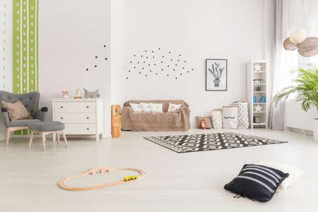 Photo pour Simple multifunctional baby room decor in scandinavian design - image libre de droit