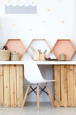 Photo pour Cozy study space with wooden DIY desk and natural accessories - image libre de droit