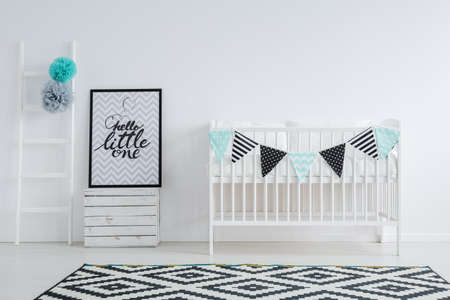 Foto de Graphic carpet in black and white nursery - Imagen libre de derechos