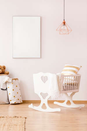 Photo for Baby cradle and mockup poster frame in scandinavian interior - Royalty Free Image