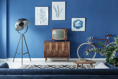 Photo pour Vintage TV, bike and retro lamp in modern living room - image libre de droit