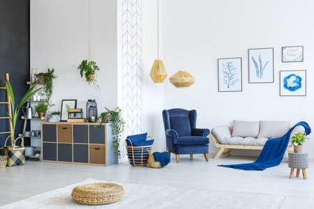 Foto de Modern white and blue living room with plants and posters - Imagen libre de derechos