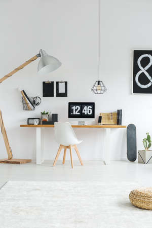 Foto de Scandinavian style of spacious cozy home office with wooden decoration - Imagen libre de derechos