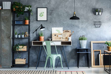Photo pour Loft office with industrial vintage decor of desk space - image libre de droit