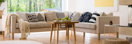 Photo pour White plate with green apples placed on small table next to corner sofa - image libre de droit