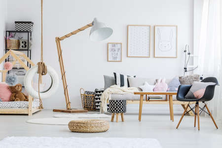 Photo pour Cute stylish scandi room of girl with bunny poster - image libre de droit