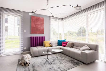 Foto de Bright modern living room with comfortable corner couch, artwork, coffee table, window blinds and rug - Imagen libre de derechos