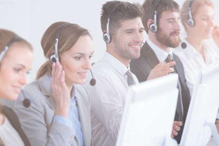 Foto de Group of call center agents focused at work - Imagen libre de derechos