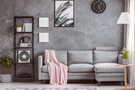 Photo pour Stylish living room with comfortable grey corner sofa, small tree on the floor and black clock on dark wall - image libre de droit