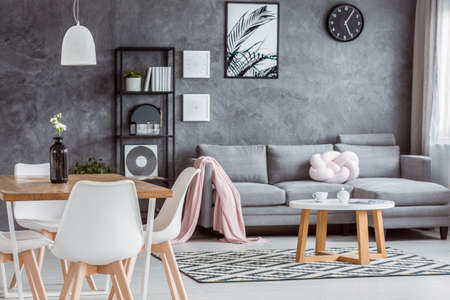 Photo pour Modern, gray apartment with cozy open dining area and minimalist living room interior with comfortable couch, coffee table and pink blanket - image libre de droit