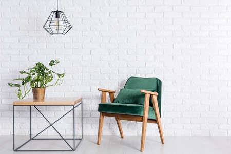 Photo pour Room with empty white brick wall, green armchair and plant in copper pot - image libre de droit