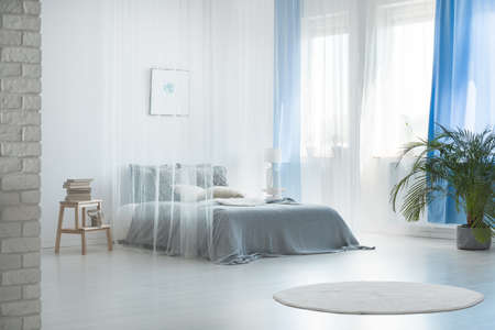 Photo for Cozy romantic interior design of spacious pale blue bedroom with sheer canopy curtains over comfortable doubled bed  - Royalty Free Image