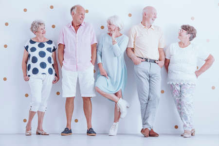 Photo for Fashion photo of happy senior friends wearing casual clothes - Royalty Free Image