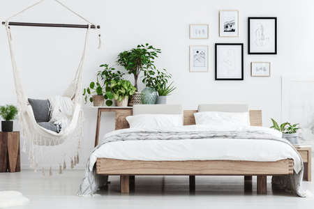 Photo for Plants behind wooden bed near hammock with pillows in natural bedroom interior with posters on white wall - Royalty Free Image