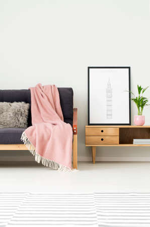 Foto de Plant and poster on rustic cupboard next to a dark sofa with grey pillow and pink blanket in cozy living room interior with patterned carpet - Imagen libre de derechos