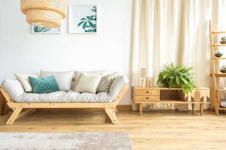 Foto de Large fern standing on a chest of drawers next to a small lamp and a cozy couch in a day room interior - Imagen libre de derechos