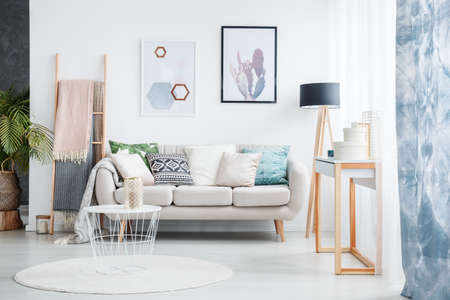 Foto de Paintings of cactus and hexagons hanging over a cozy sofa with many pillows standing next to a black lamp in living room interior - Imagen libre de derechos