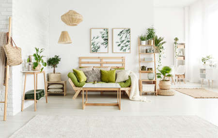 Foto de Green pillows on sofa and wooden table in spacious bright living room interior with lamps, leaves posters and plants - Imagen libre de derechos