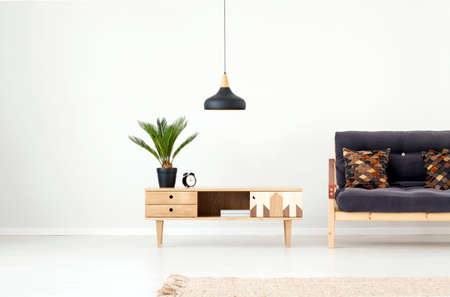 Foto de Black lamp above wooden cupboard with palm and clock next to dark sofa in living room interior with carpet - Imagen libre de derechos