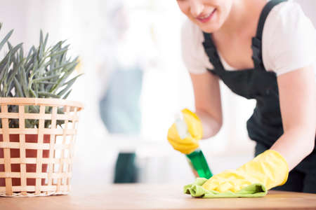 Foto für A woman in black overalls and yellow, rubber gloves dusting a table with a plant - Lizenzfreies Bild