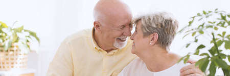 Photo pour A close-up portrait of a happy senior couple - an older caucasian man and woman embracing face to face, touching noses and smiling in a white bright room with plants - image libre de droit