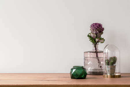 Foto de Close-up of a flower in a pink glass vase and a small cactus in a dome on the side of a wooden surface and an empty, white background - Imagen libre de derechos