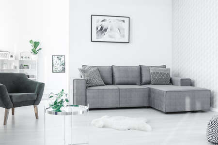 Photo for Black and white poster hanging on the wall in open space flat interior in Nordic style with fresh plants - Royalty Free Image