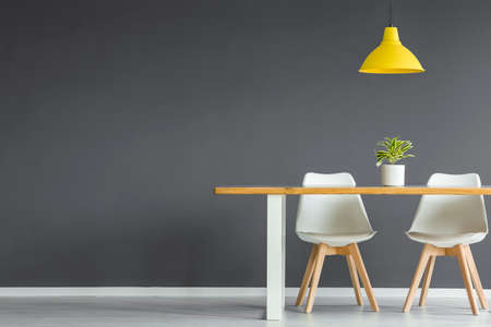 Foto de White chairs at wooden table with plant under yellow lamp in dark grey dining room interior with copy space - Imagen libre de derechos