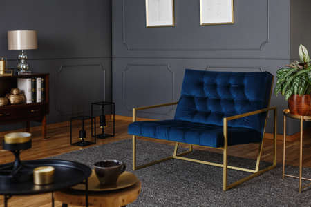 Photo pour Real photo of a large, navy blue armchair with golden frame against dark wall with molding in elegant living room interior - image libre de droit