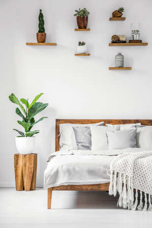 Photo pour Bright, botanic bedroom interior with wooden furniture, cozy sheets, pillows and natural plants on a white wall - image libre de droit