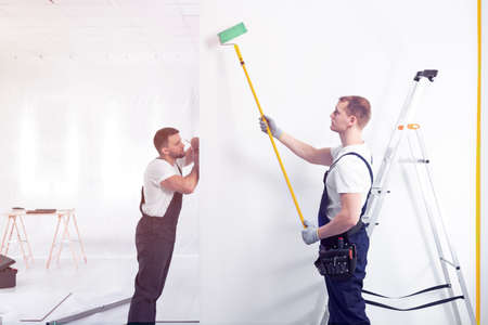 Photo for Decorators painting a wall with a roller during office renovation - Royalty Free Image