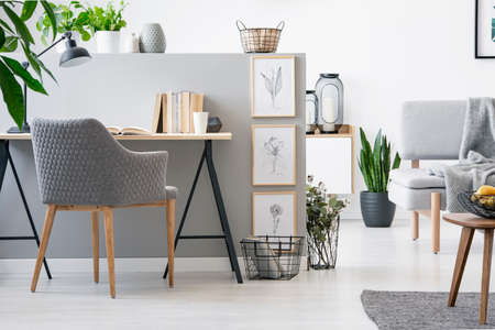 Photo pour Real photo of grey chair standing by the wooden desk with books on half-wall with simple sketches in bright living room interior - image libre de droit