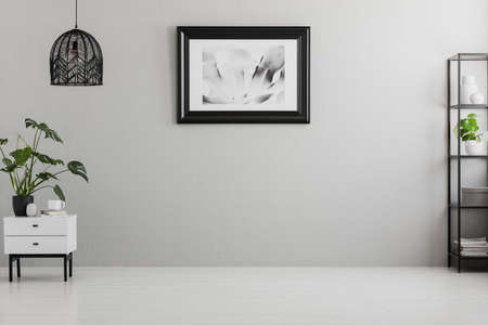 Photo pour Poster on grey wall in empty living room interior with lamp above plant on cabinet. Real photo. Place for your sofa - image libre de droit